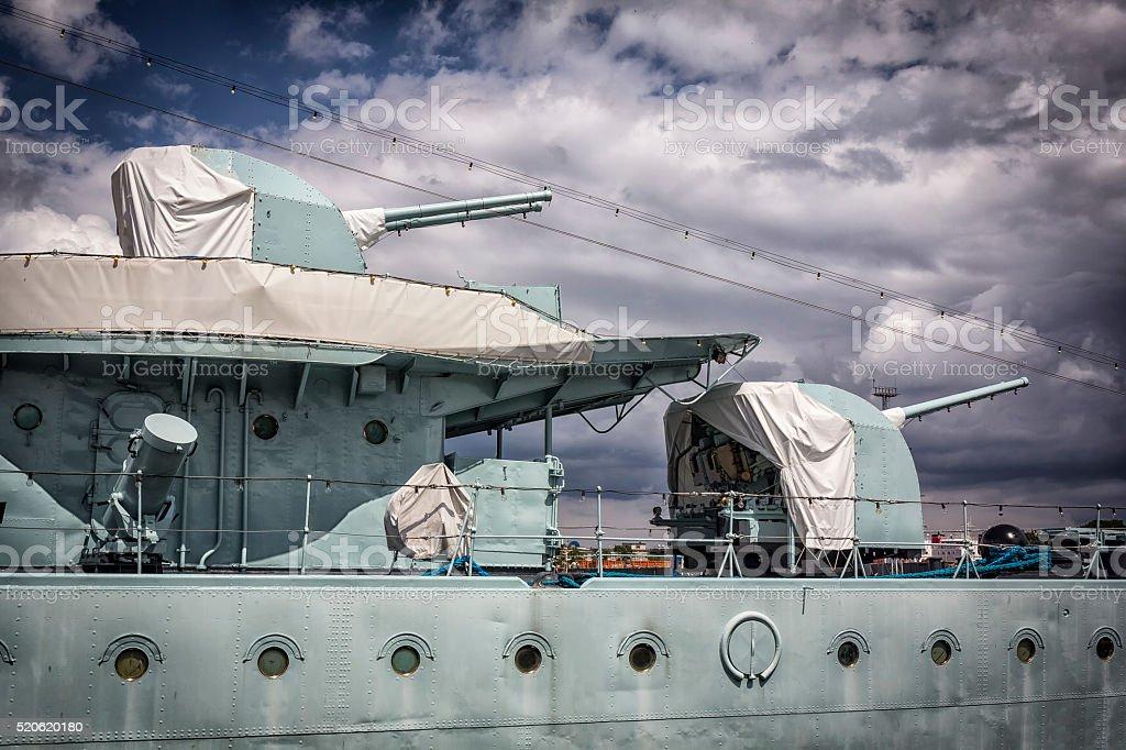 World War II Military Destroyer Ship stock photo