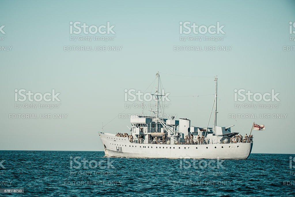 World War II navy ship sailing towards Dunkirk movie set stock photo