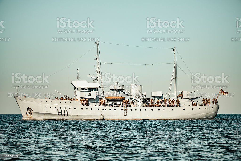 World War II navy ship sailing towards Dunkirk movie set stock photo