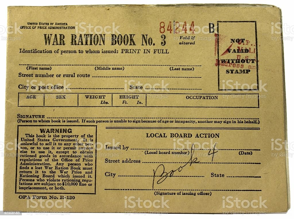World War II Ration Book royalty-free stock photo