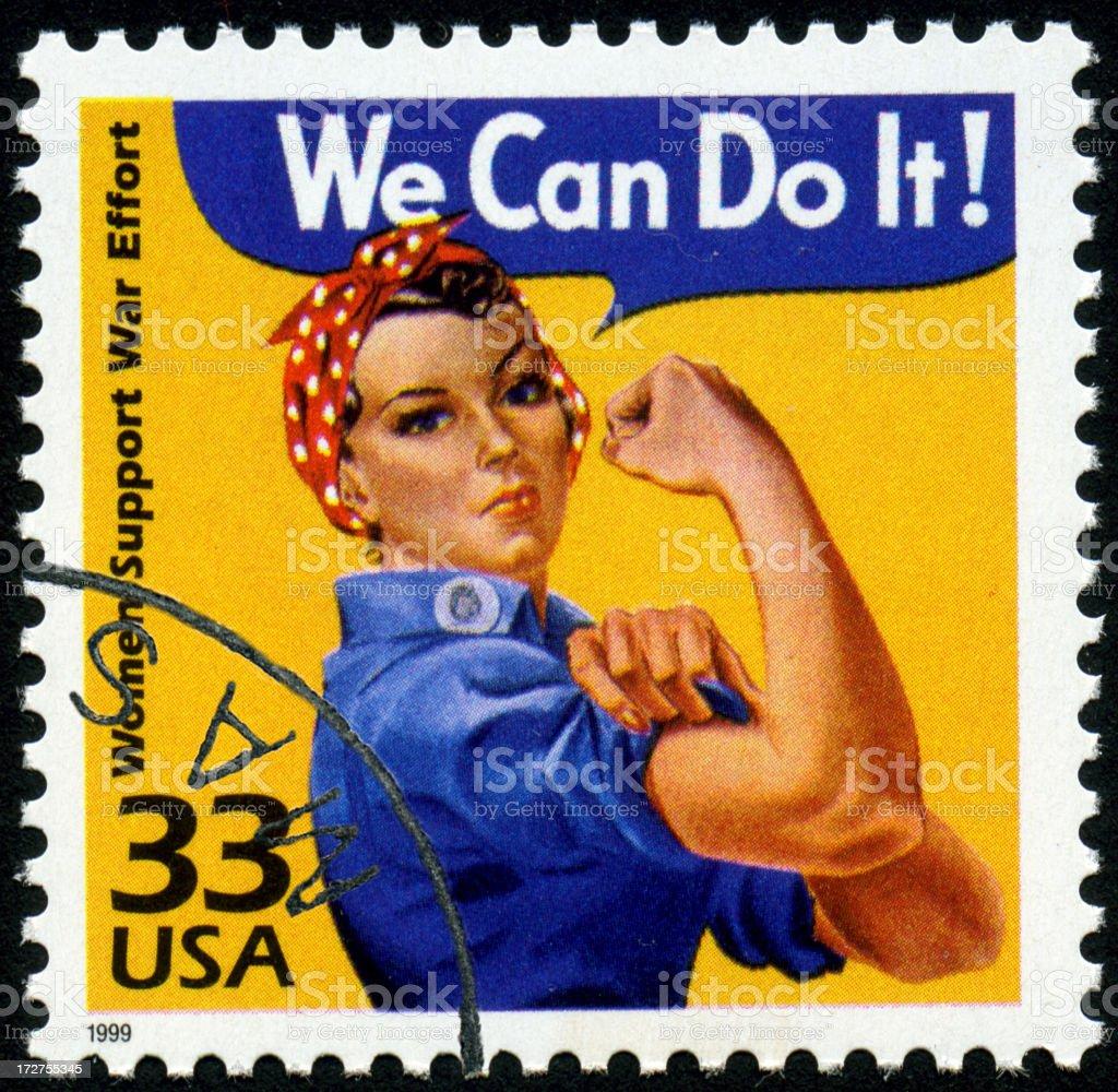 World War II Rosie the Riveter stamp stock photo