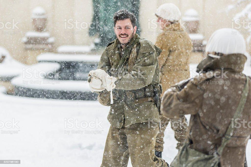World War II: Snowball Fight stock photo