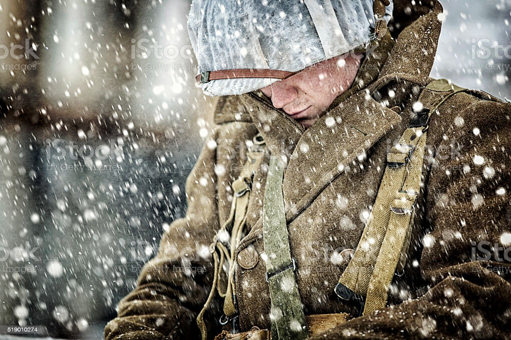 World War II Soldier in a Blizzard stock photo