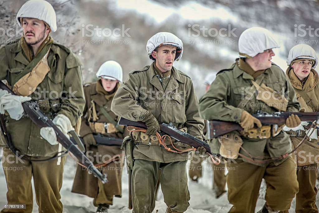 World War II Soldiers in the Snow stock photo