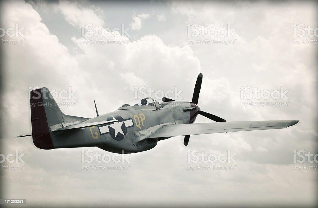 World War II TF-51 Mustang in Sky - Aged stock photo