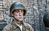 World War II US Army Soldier Eyes Closed Sweating