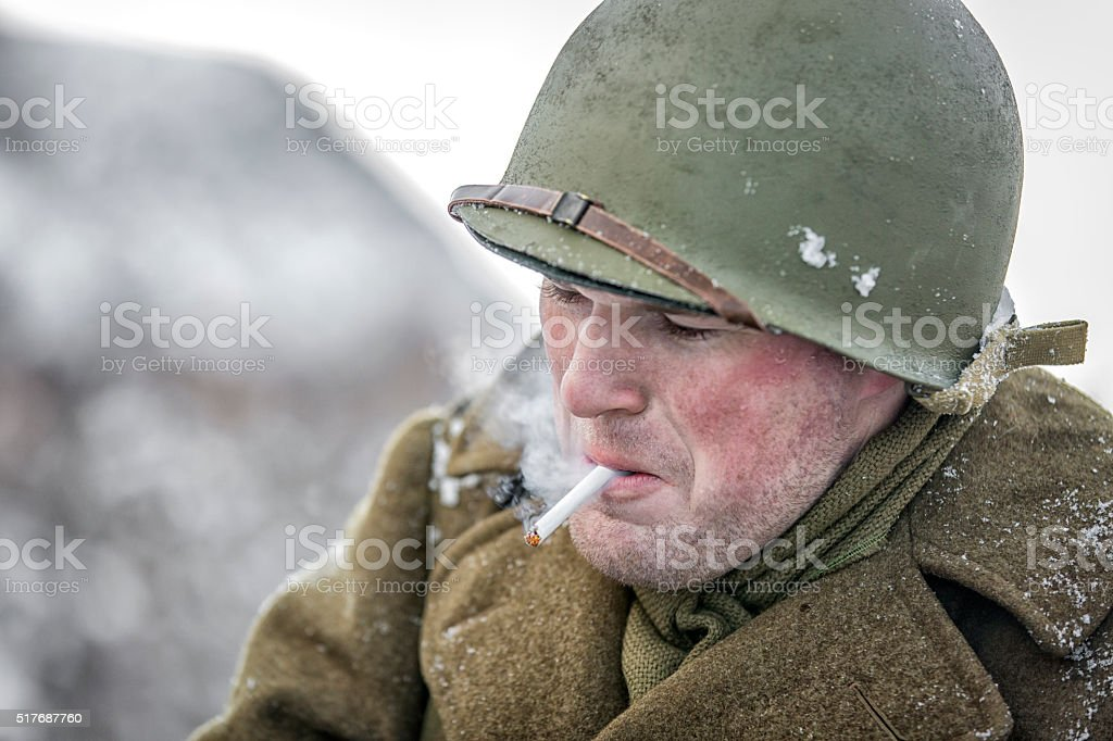 World War II: US Army Soldier Smoking a Cigarette stock photo