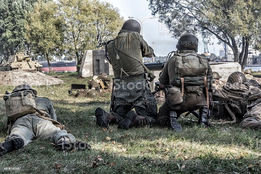 World War II US infantry soldiers stock photo