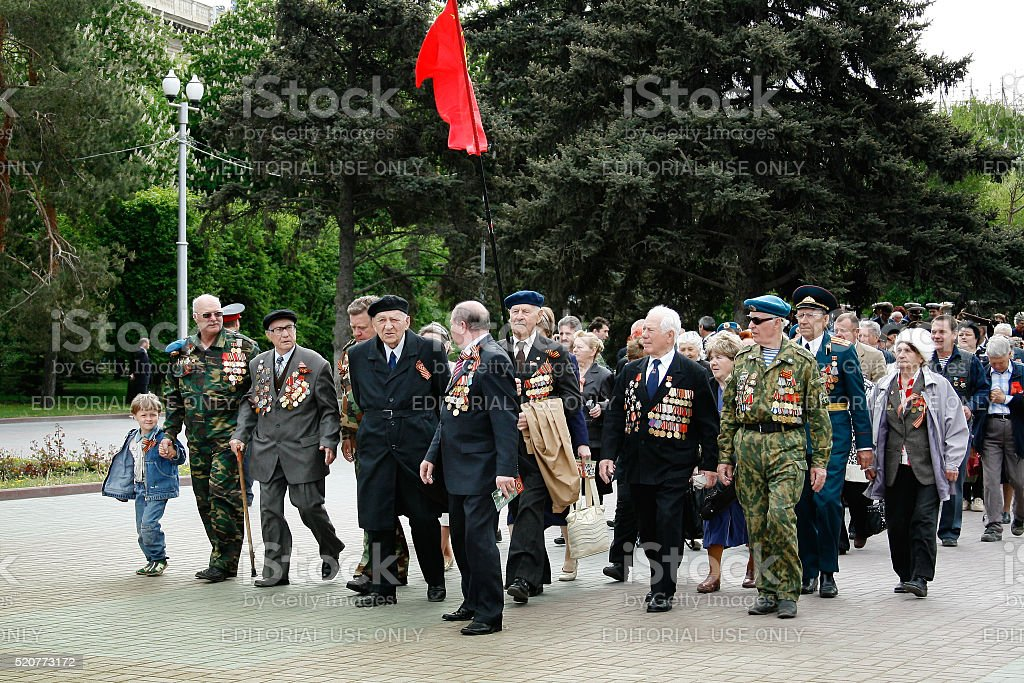 World War II veterans on Victory Day celebration stock photo