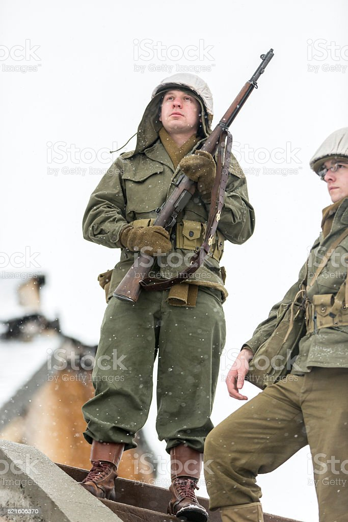 World War II: Victory Cheer After Storming Bunker stock photo