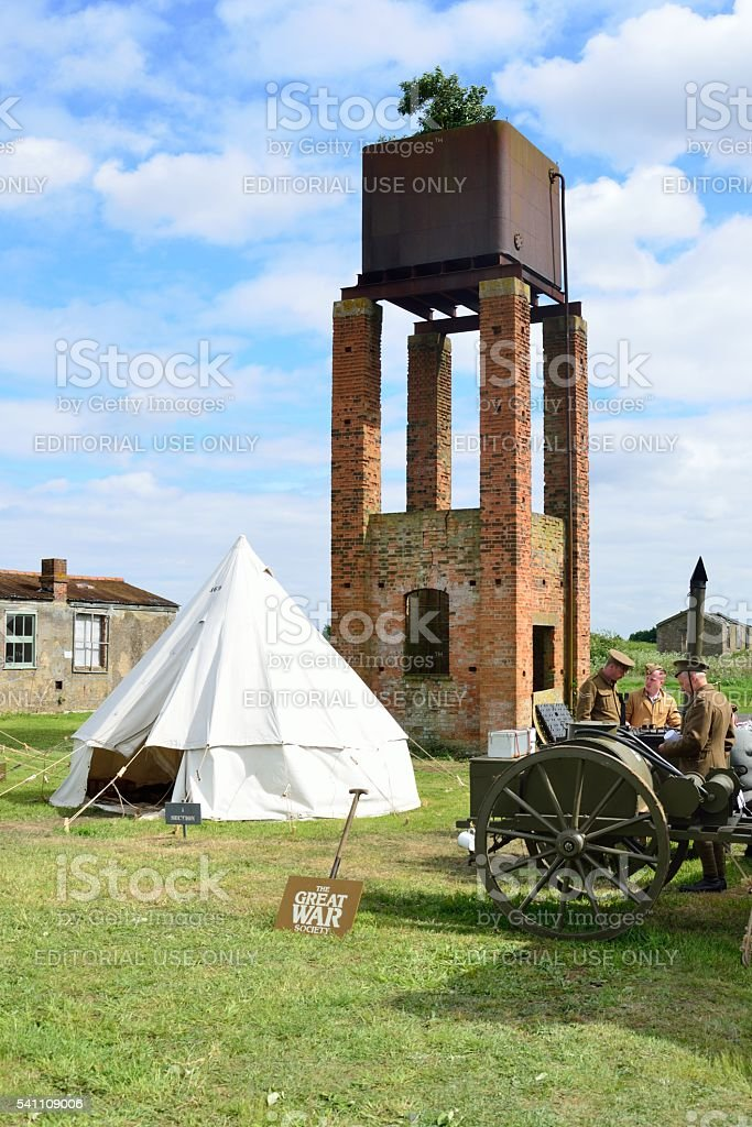 World war one encampment with water tower stock photo