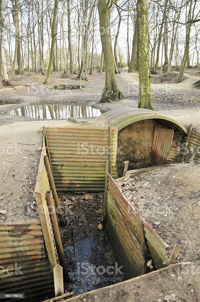 World War One Trenches, Belgium royalty-free stock photo