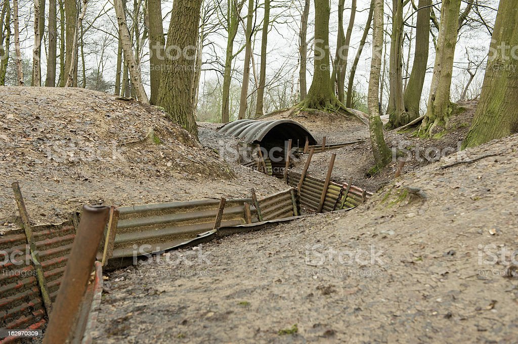 World War One Trenches, Flanders, Belgium royalty-free stock photo
