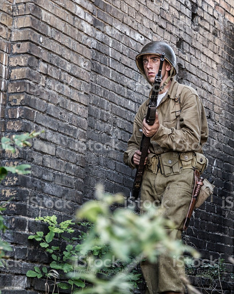World War Two Alert US Army Infantry Soldier Combat Patrol stock photo