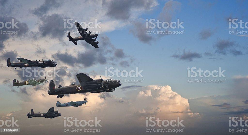 World War Two British vintage flight formation royalty-free stock photo
