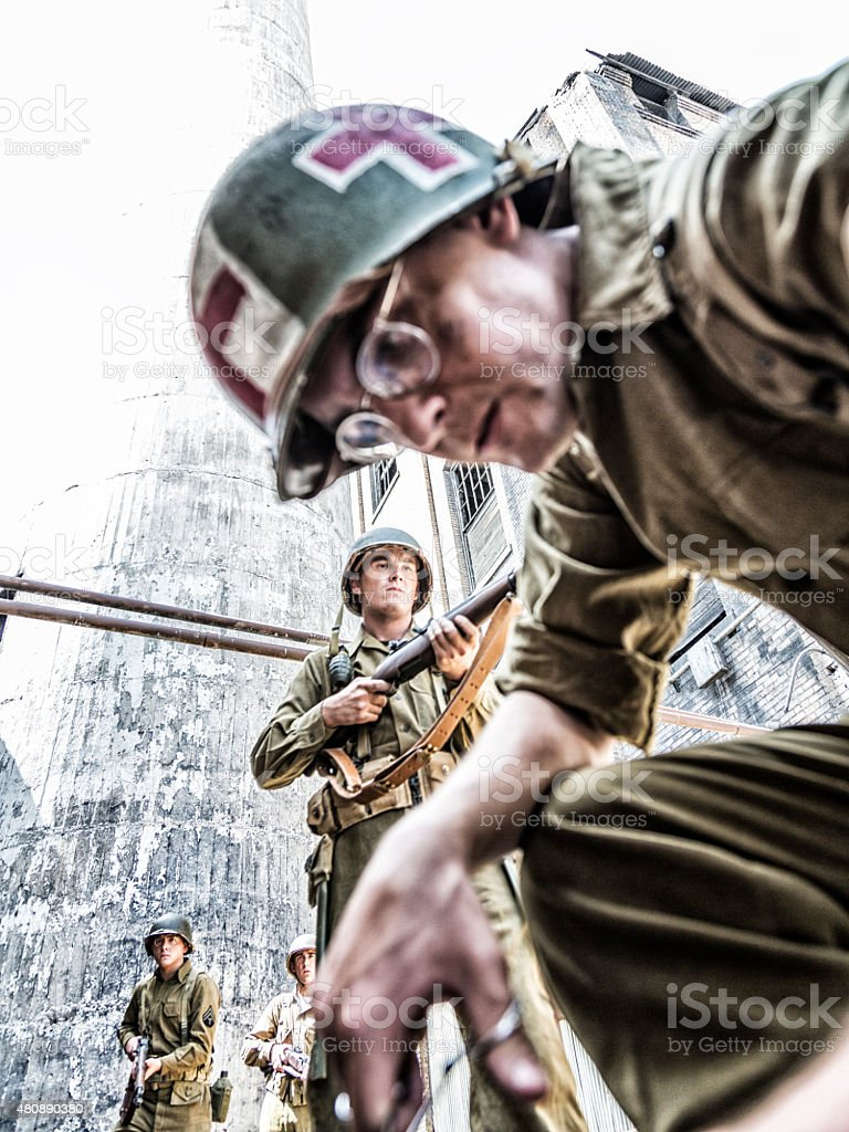 World War Two Combat Triage US Army Military Medic stock photo