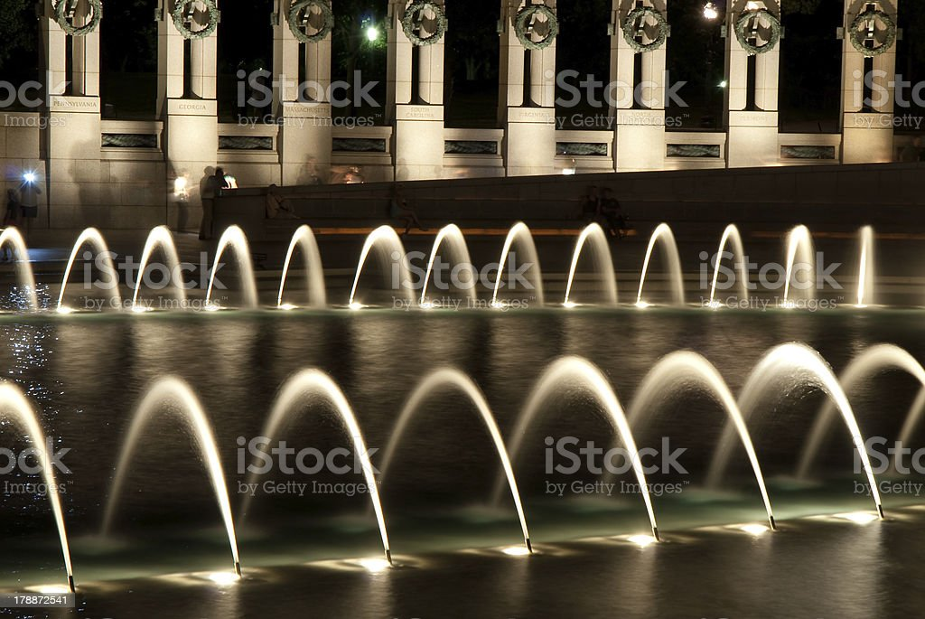 World War Two (WWII) Memorial at night stock photo