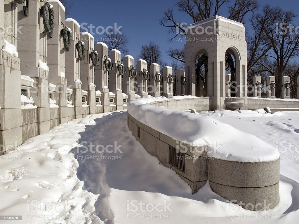 World War Two Memorial-Winter stock photo