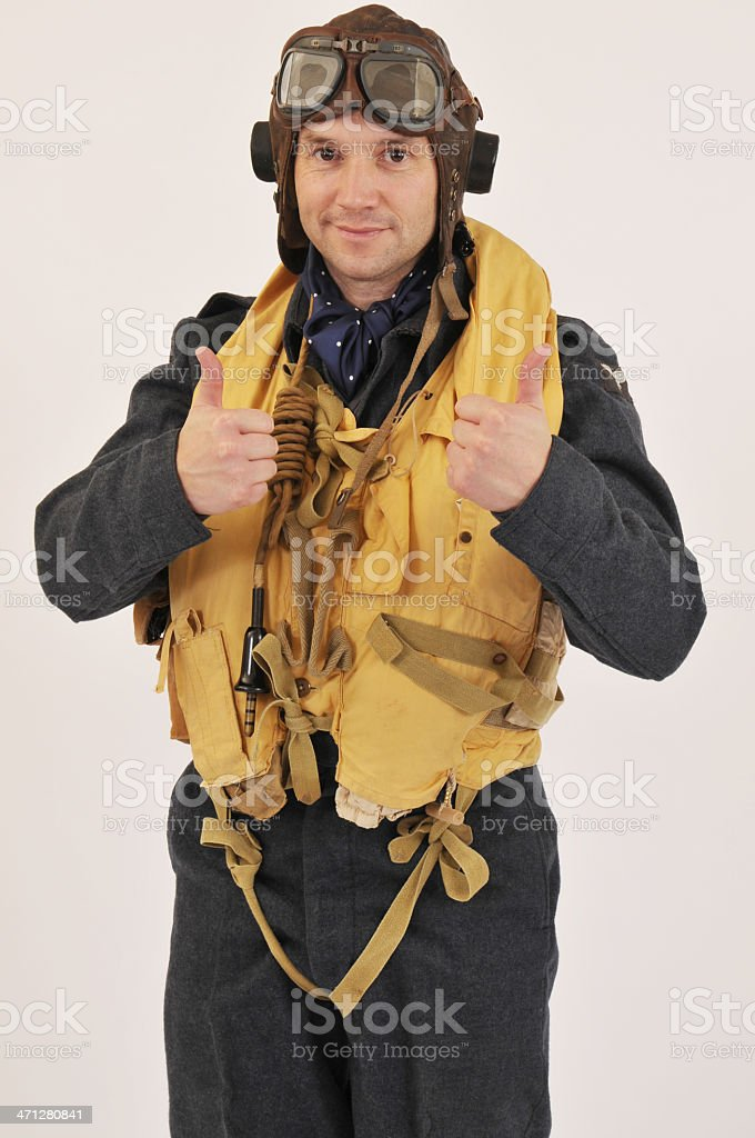 World War Two RAF Pilot With Thumbs Up stock photo