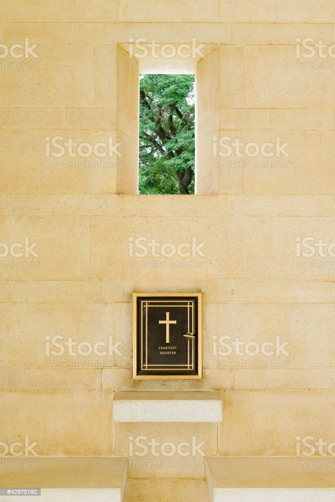 World war two solider cemetery register in Kanchanaburi, Thailand. Attached to the wall before entering the cemetery to register. stock photo