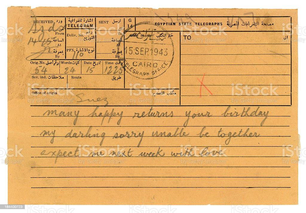 World War Two telegram from Egypt, 1943 royalty-free stock photo