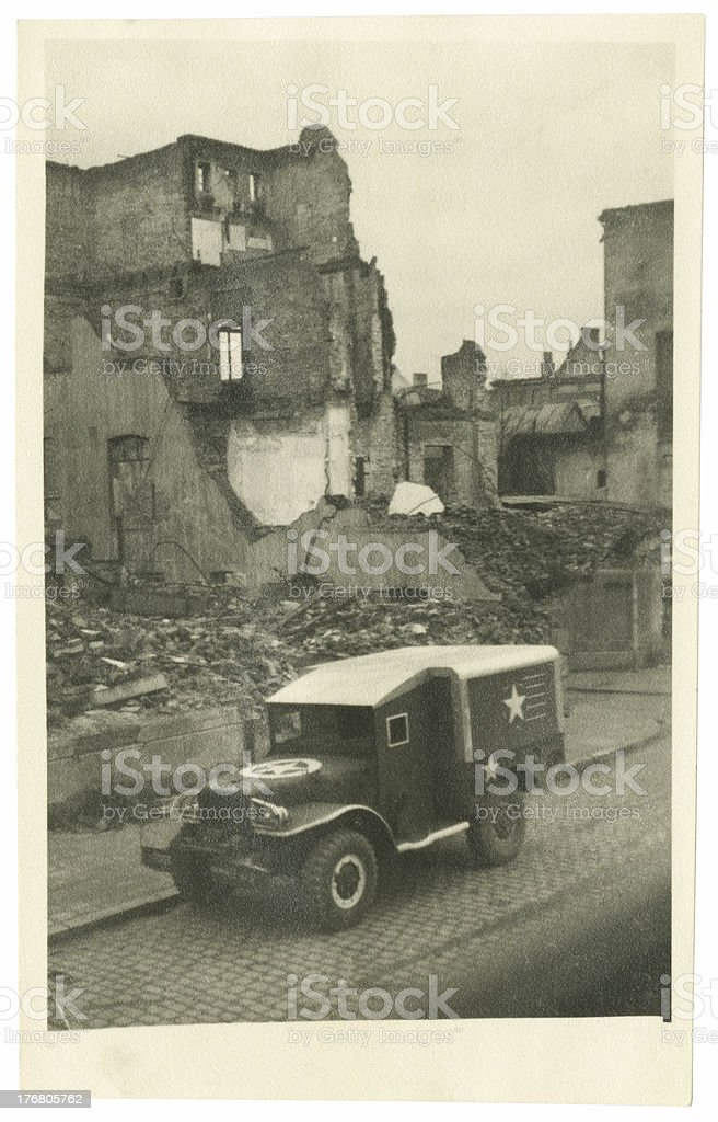 World War Two Weapons Carrier During Battle stock photo