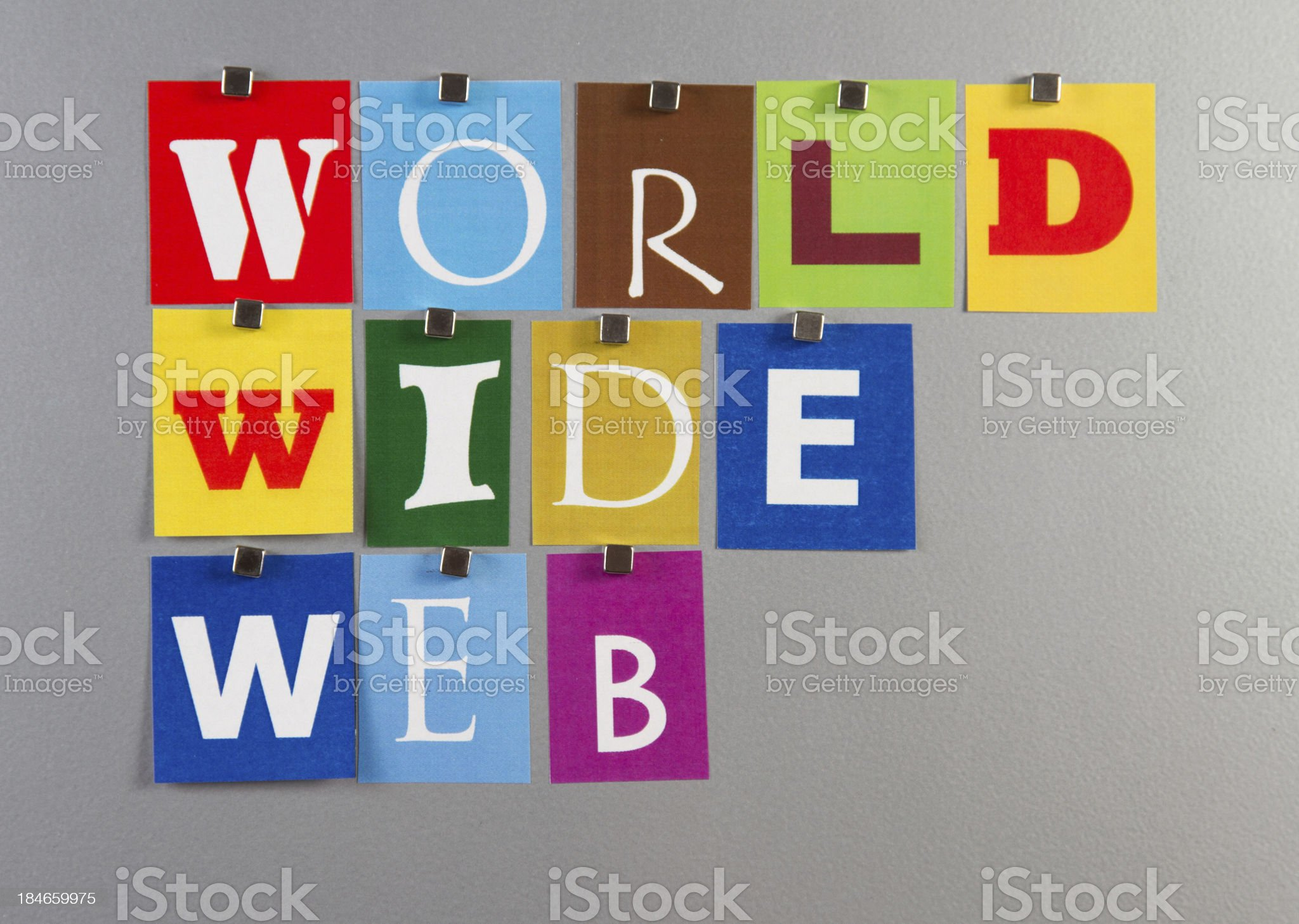 World Wide Web pinned on a silver metal pin board royalty-free stock photo