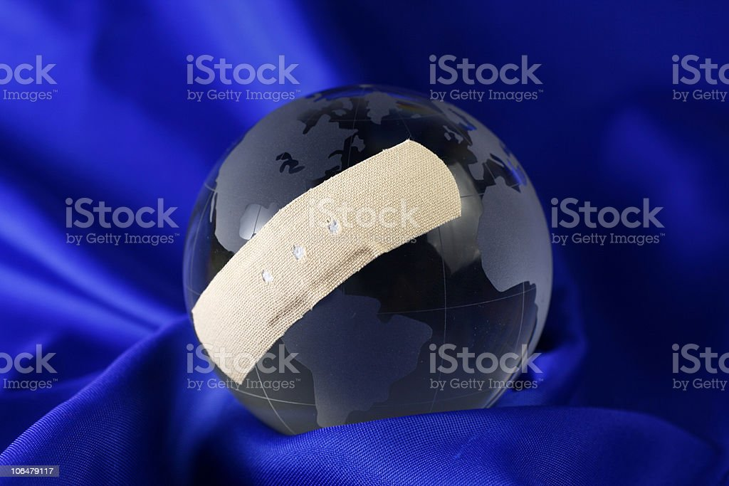 World with adhesive plaster royalty-free stock photo