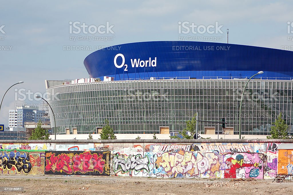 O2 World with Berlin wall and East Side Gallery stock photo
