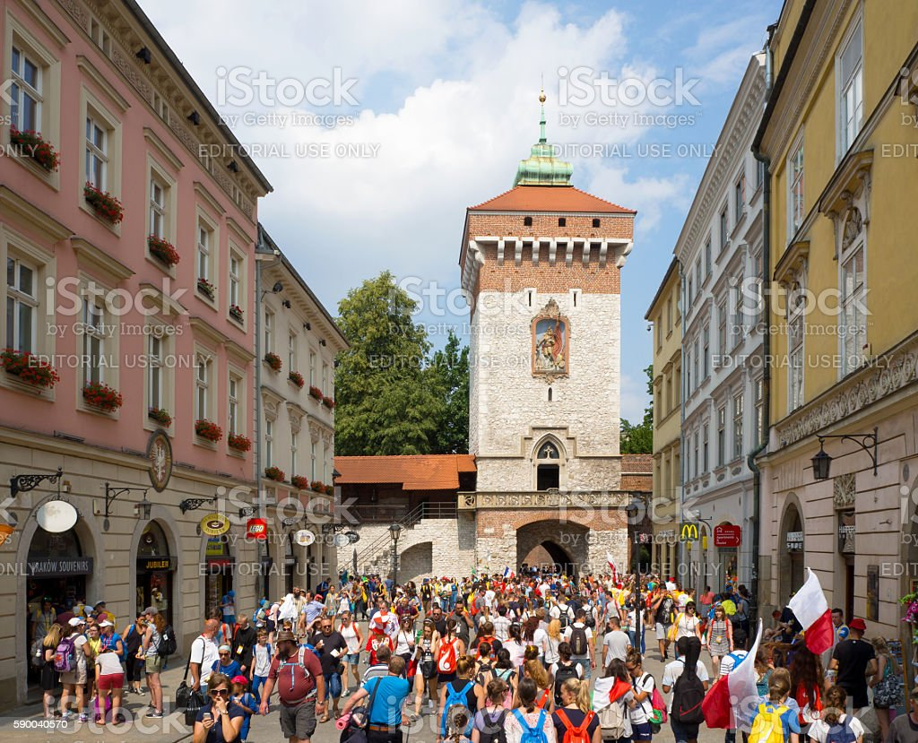 World Youth Day 2016. Pilgrims at Florian's Gate stock photo