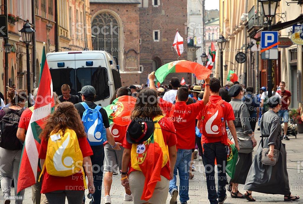 World youth day 2016.International Catholic youth Convention in Krakow. stock photo