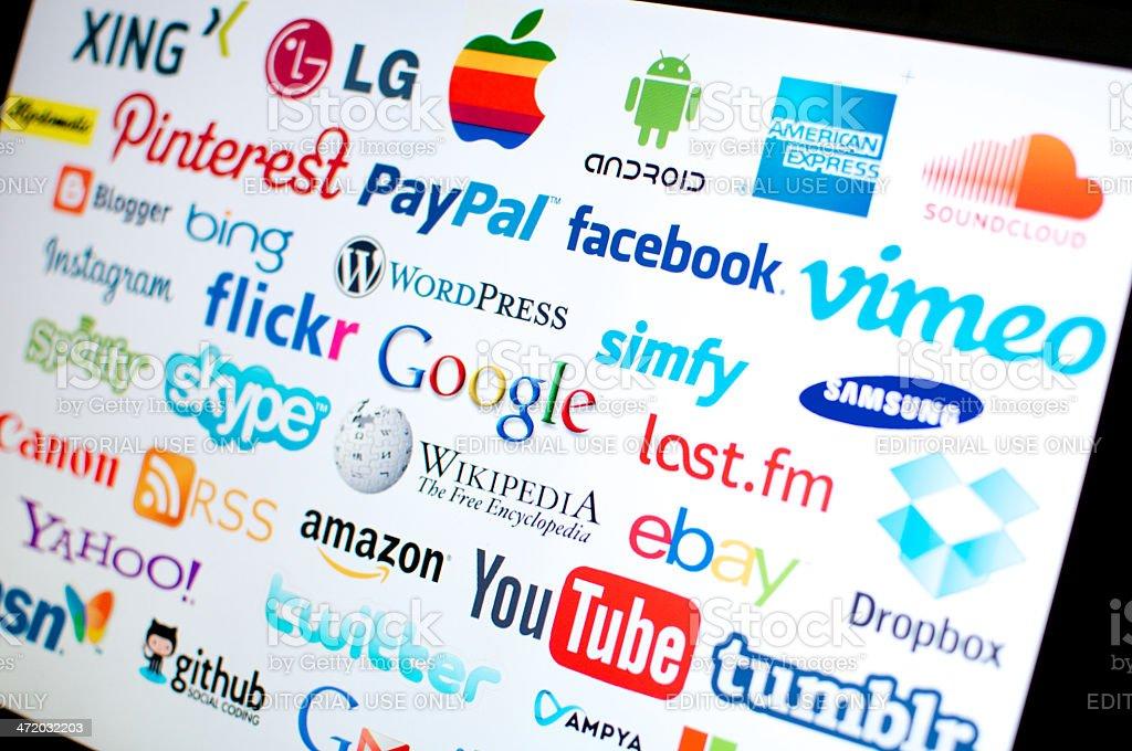 worldbrands of Internet stock photo