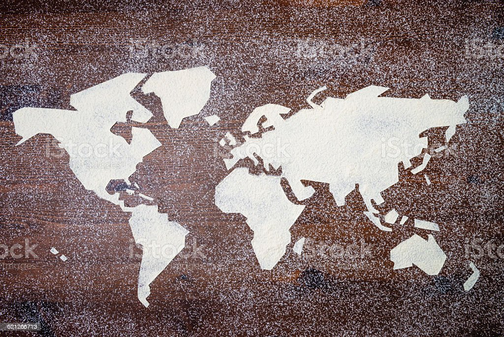 worldmap made with flour stock photo