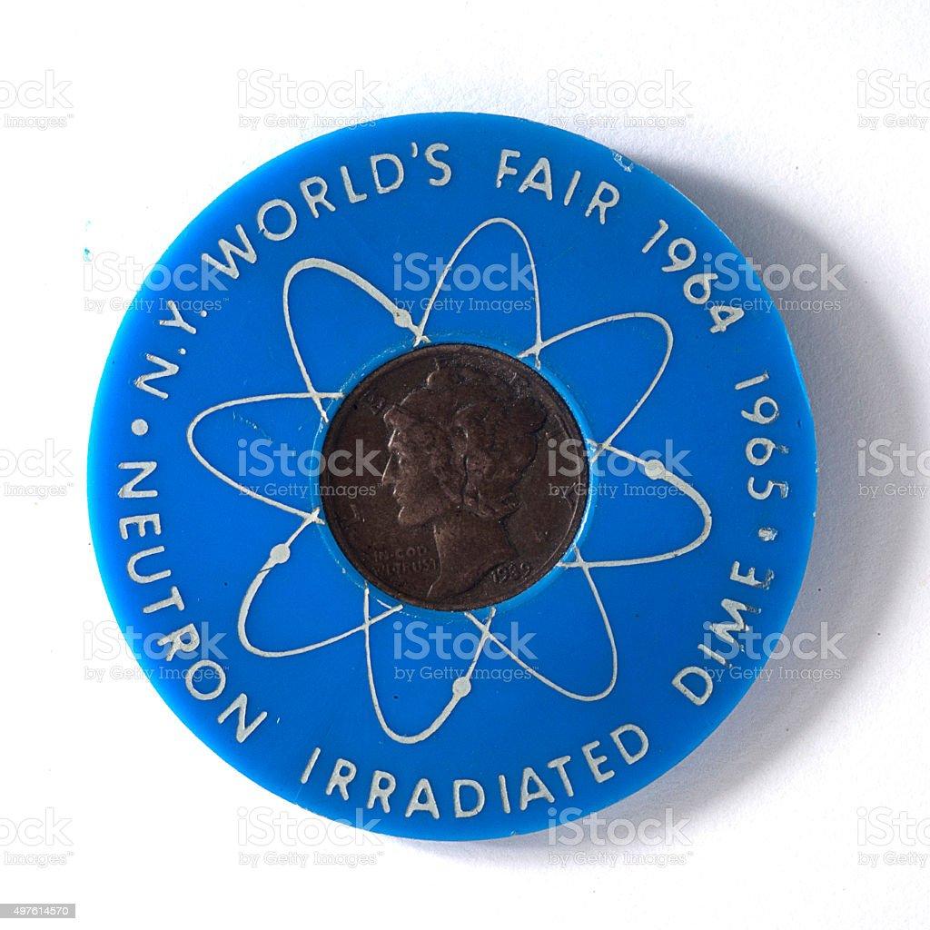 World's Fair souvenir coin, 1964 stock photo
