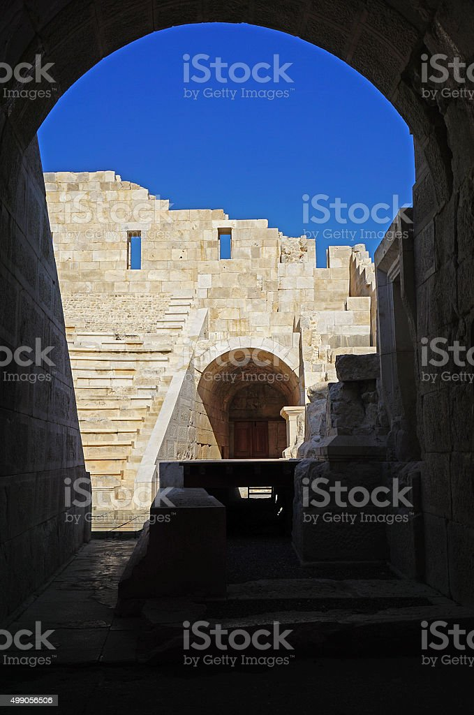 World's first parliment building. Patara. stock photo