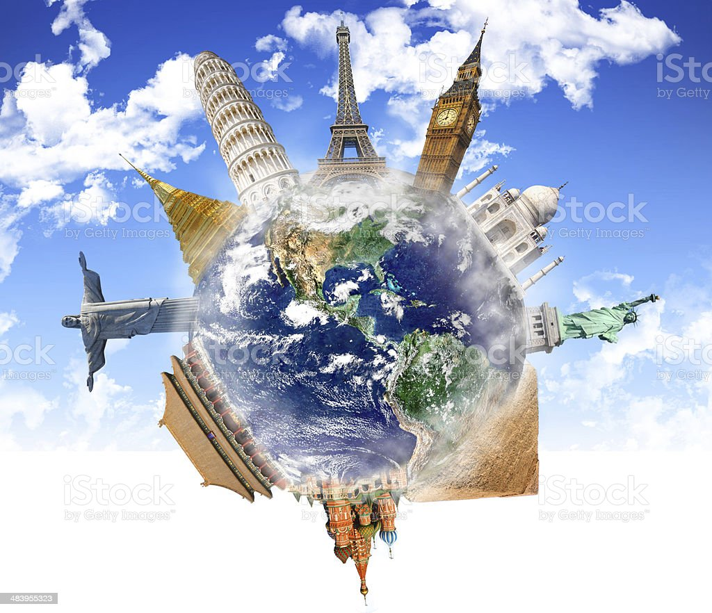 World's important monuments and landmarks highlighted on Planet Earth. stock photo