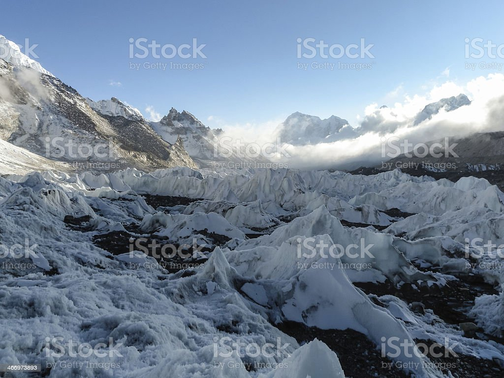 world's largest glacier Khumbu originating from the highest royalty-free stock photo