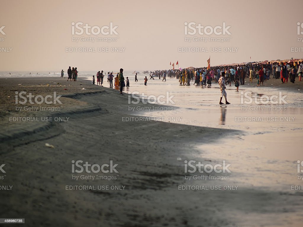 World's longest natural sandy sea beach in Cox's Bazar stock photo