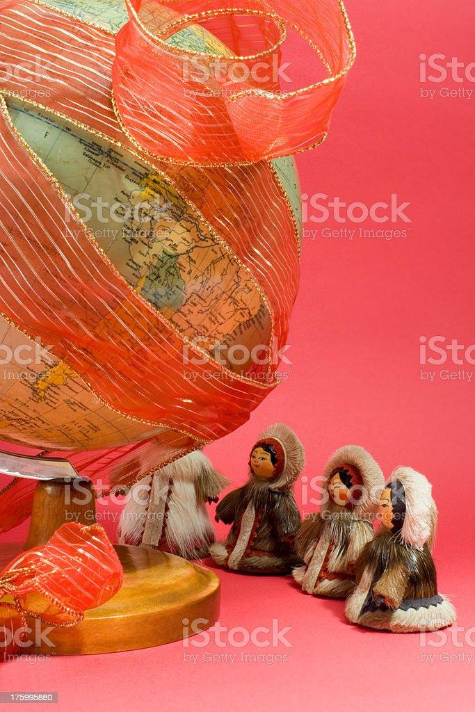 Worldwide Christmas celebration around globe stock photo