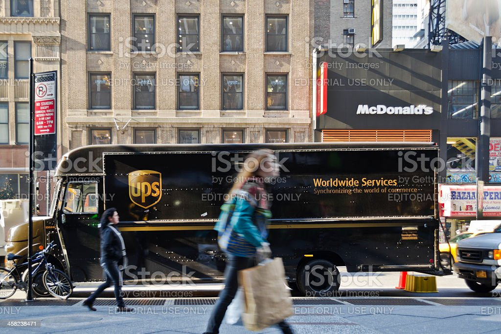 UPS Worldwide Delivery Truck, New York City. stock photo