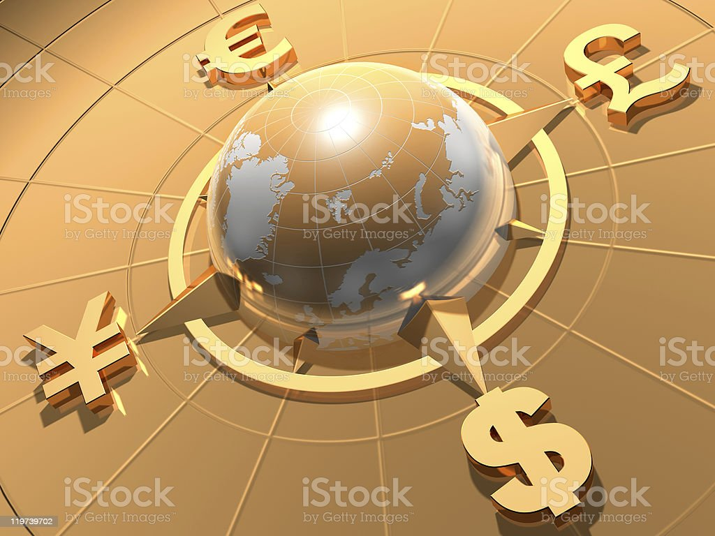 Worldwide money concept with golden background stock photo
