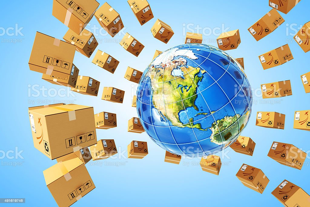 Worldwide purchases delivery and logistics concept stock photo