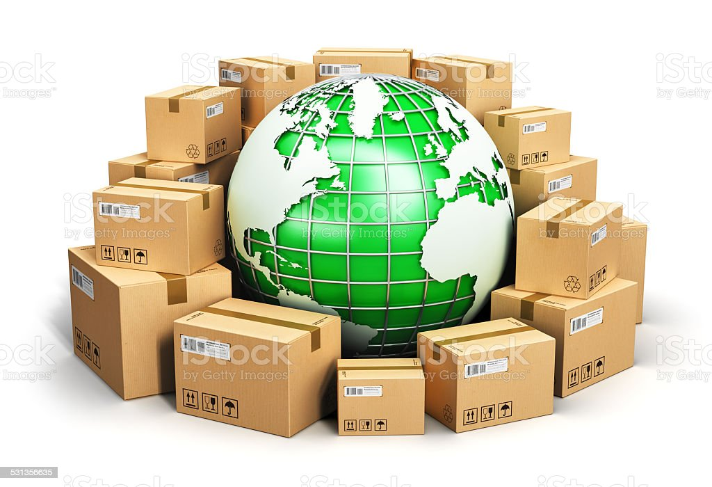 Worldwide shipping and ecology concept stock photo
