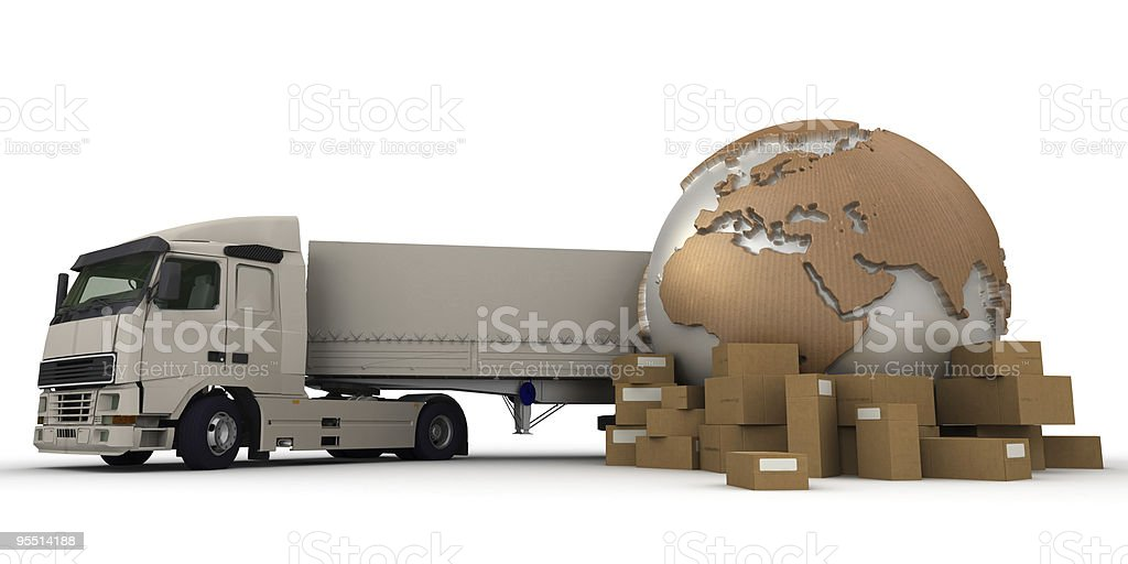 Worldwide truck transportation royalty-free stock vector art