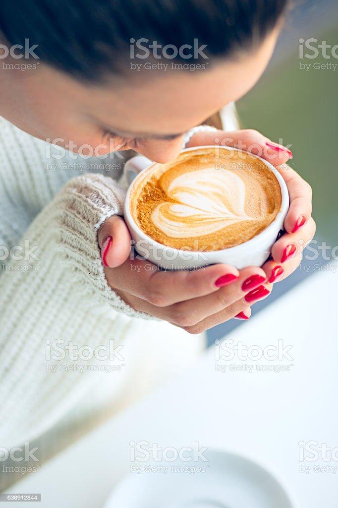 Worm coffee...cold days stock photo