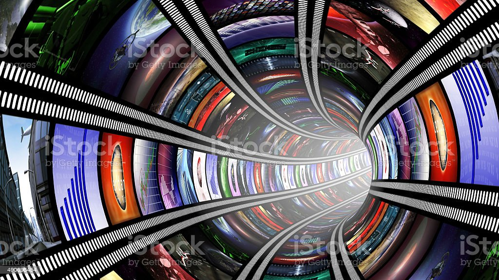 Wormhole with video wall stock photo