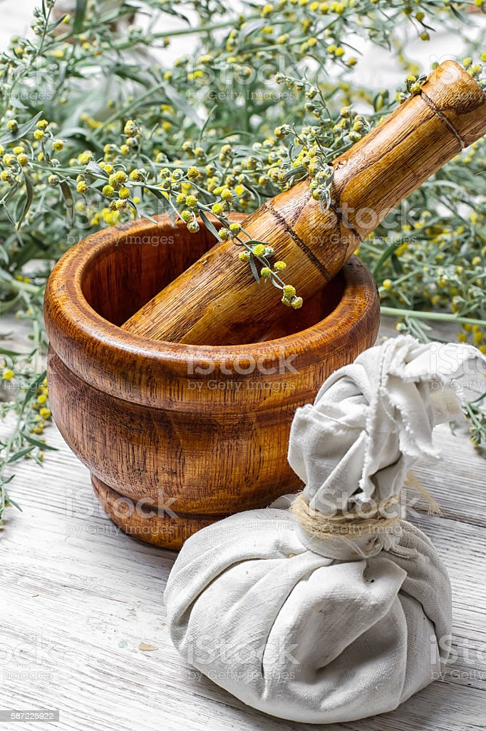 wormwood and mortar stock photo