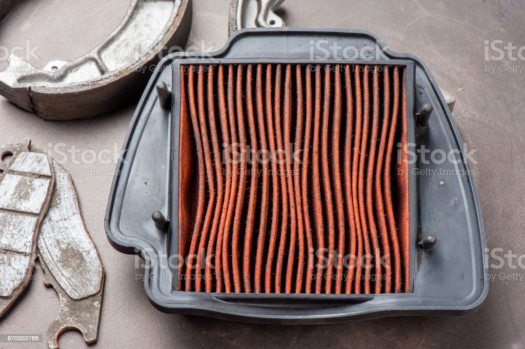 worn air filter stock photo