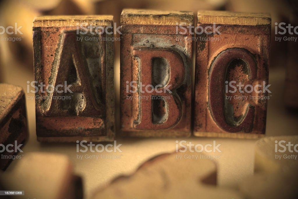 Worn and Antique Rubber Stamps with the letter ABC royalty-free stock photo