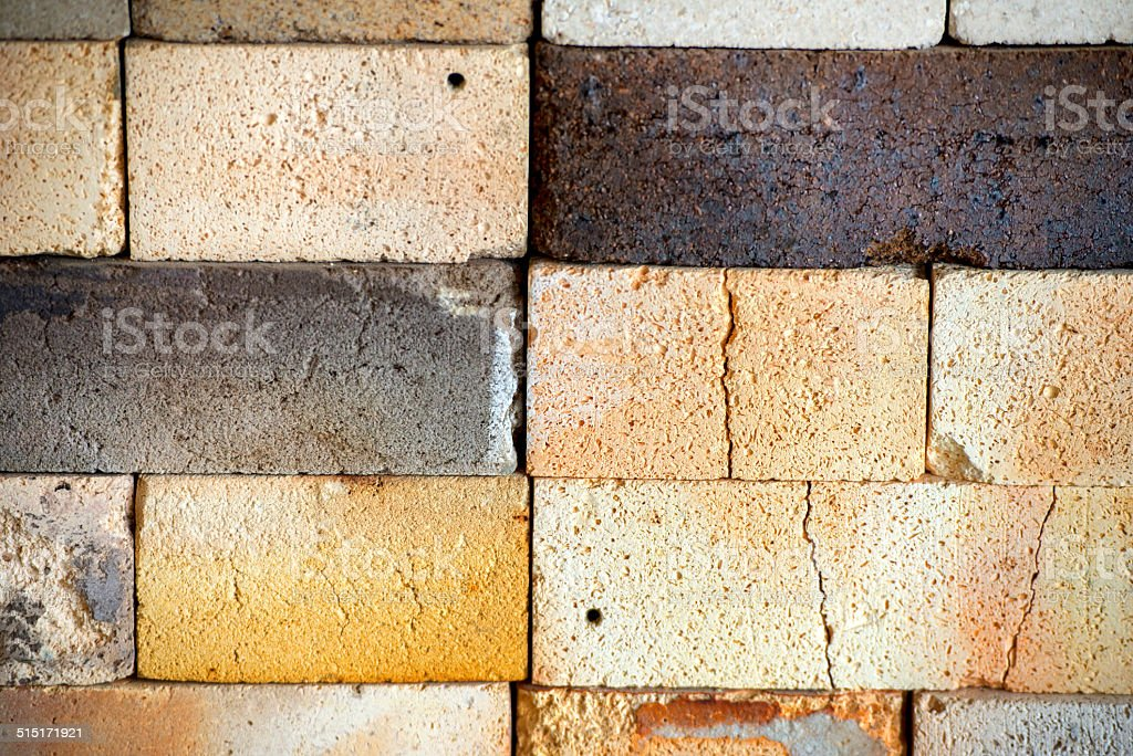 Worn and Cracked Fire Bricks Texture stock photo